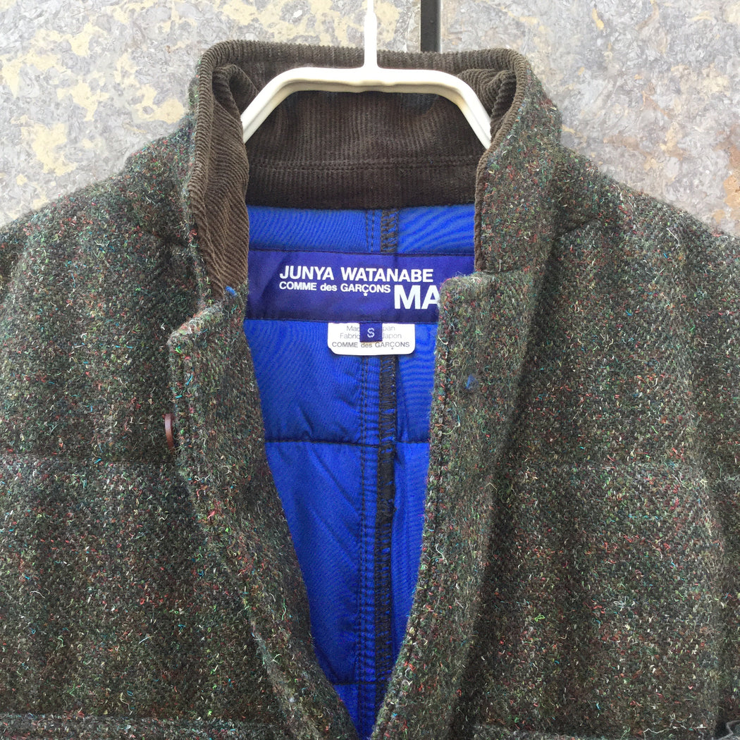 Dark Color Mix Wool / Polyester Mix Junya Watanabe Jacket Elbow Patch Size S