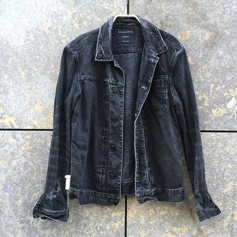 Black Denim All Saints Jeans Jacket Destroyed Size M/L