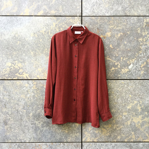 Black-Red Polyester Modern Vintage Shirt Special Button Size M/L