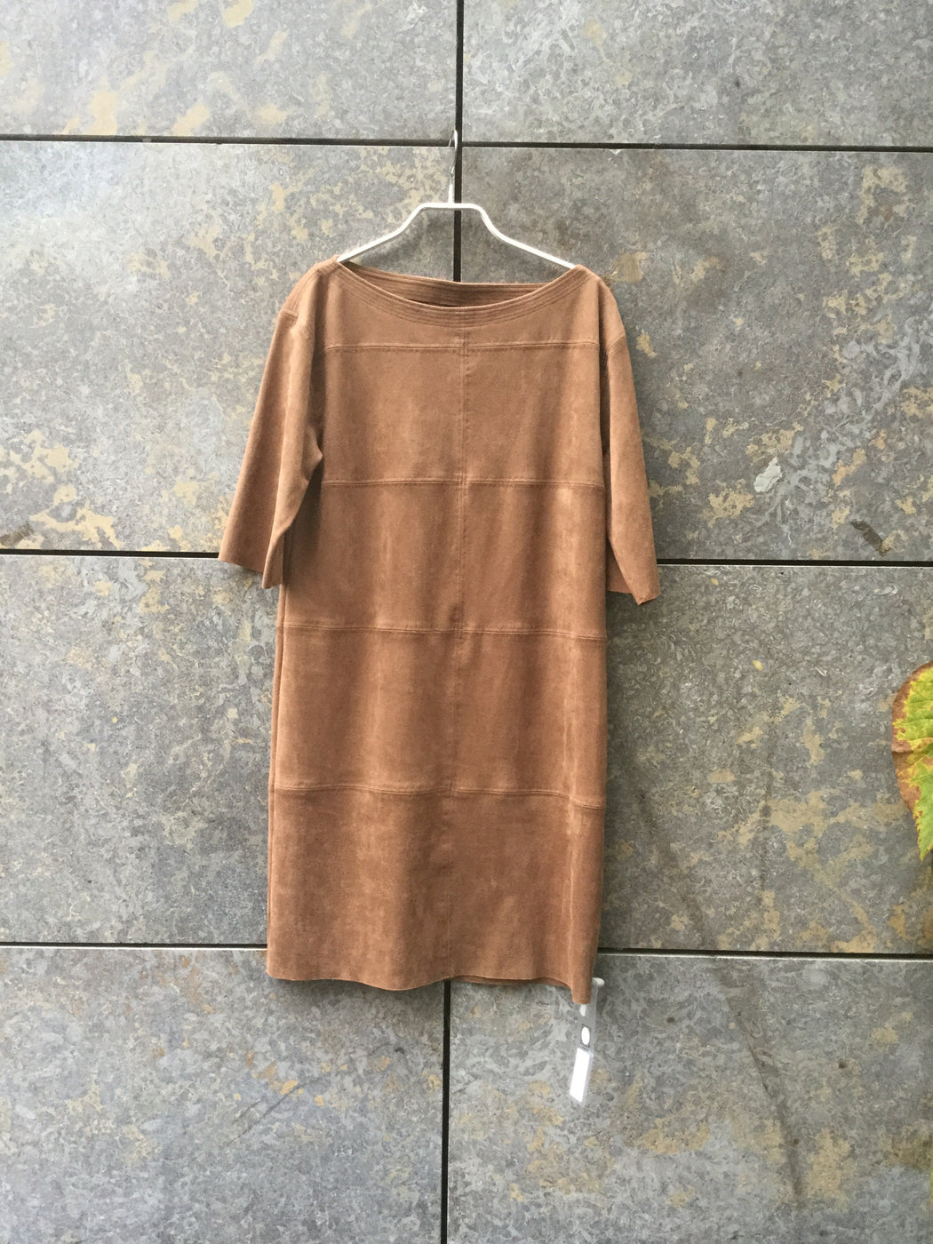 Tan Faux Suede Contemporary Main Cocoon Dress Loose-fit Size M/L