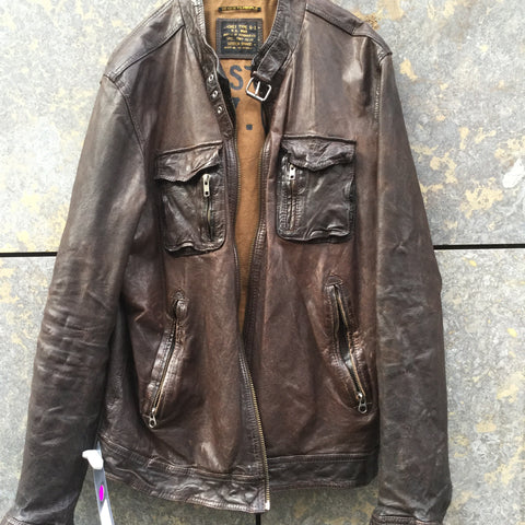 Chocolate Leather Scotch & Soda Leather Jacket Zippered Size L/XL