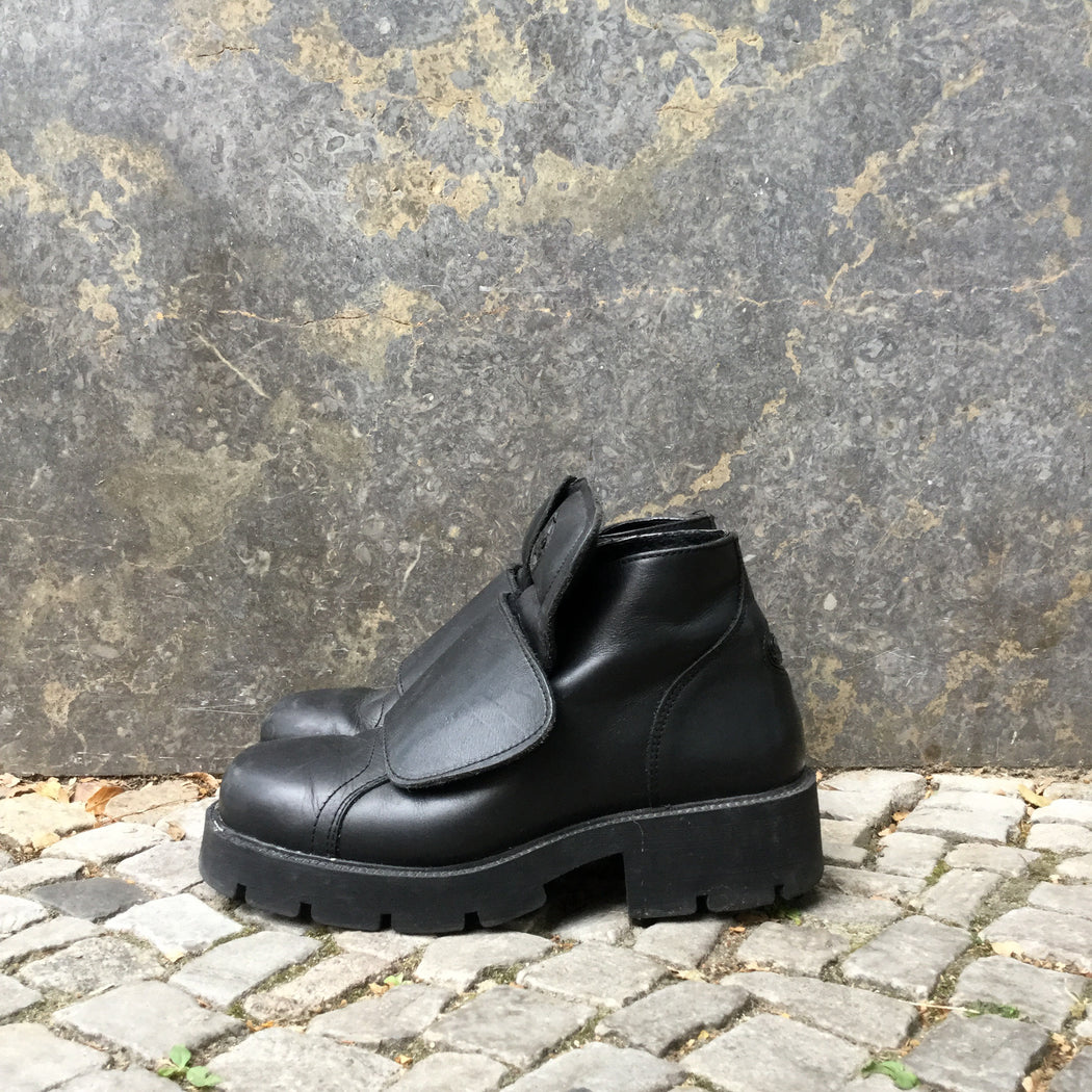 Black Leather Buffalo Ankle Boots Conceptual Detail Size 40
