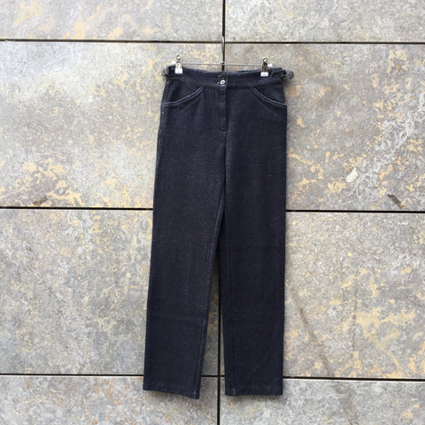 Midnight Blue Cotton Stretch Elastane Agnes B Trousers Straps Size 26/27