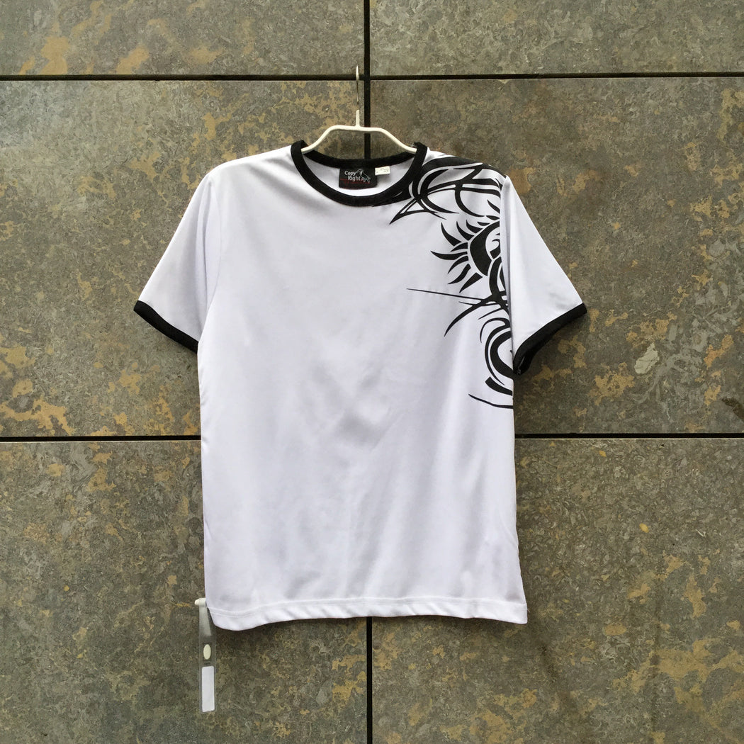 White-Black Polyester Modern Vintage T-shirt Shoulder Detail Size S/M