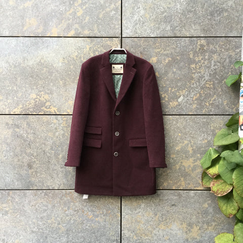 Wine Wool / Polyester Mix Contemporary Coat Extended Size L