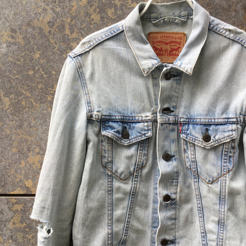 Pale Denim Blue Denim Levi's Jeans Jacket Destroyed Size S