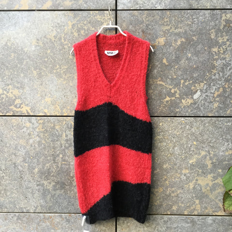 Red-Black Mohair Mix MM6 Maison Margiela Sweater Dress Sleeveless Size M/L