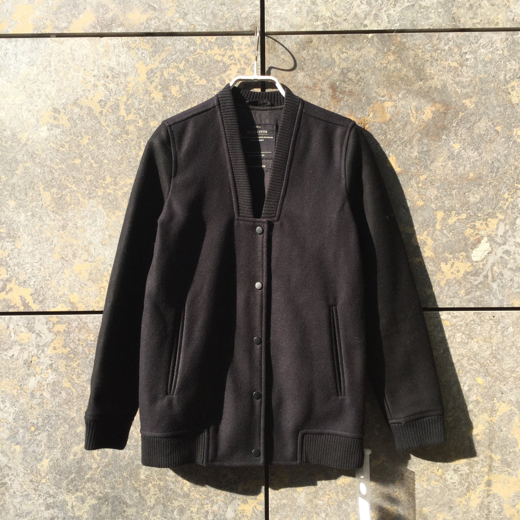 Black Wool Mix All Saints Varsity Jacket Collar Detail Size XXS/XS