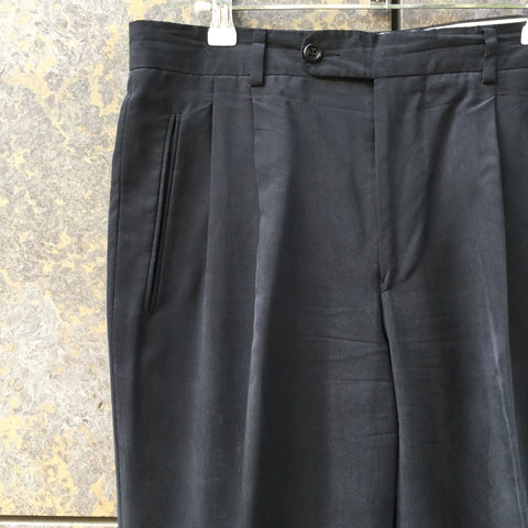 Faded Black Silk Vintage Trousers Pleated Size 32