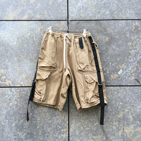 Beige-Black Cotton Liam Hodges Shorts Multi Pocket Convertible Size 28/29