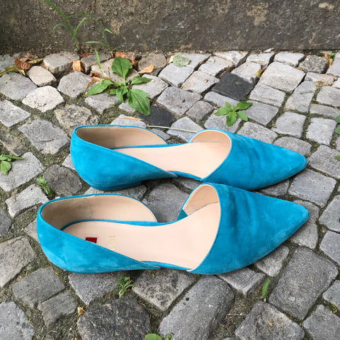 Turquoise Suede Contemporary Main Flats  Size 39