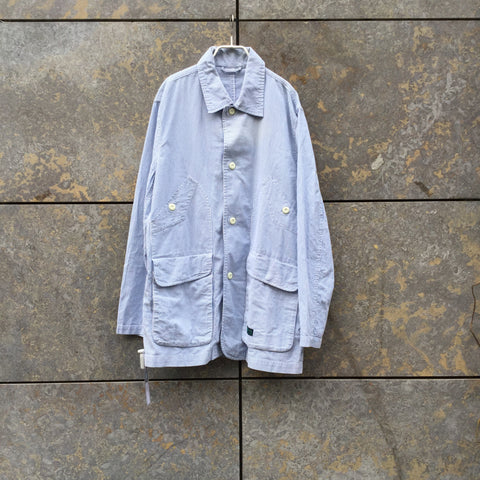 White-Light Blue Seersucker Maharishi Light Jacket Extended Oversized Pocket Size XL/XXL