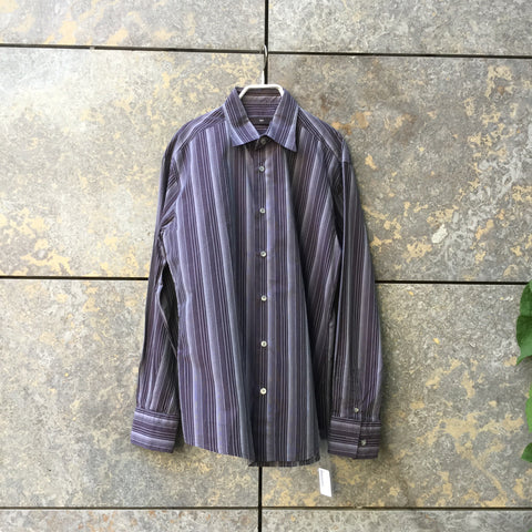 Dark Purple-Wine Cotton Mix Contemporary Shirt Button Through Size L/XL