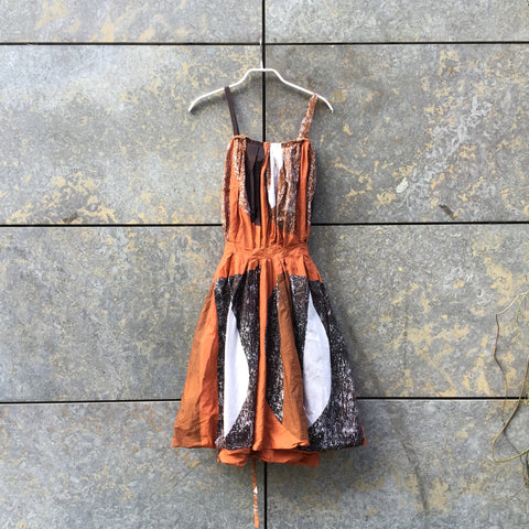 Tan-Brown Cotton Marni Halter Dress Straps Size M/L