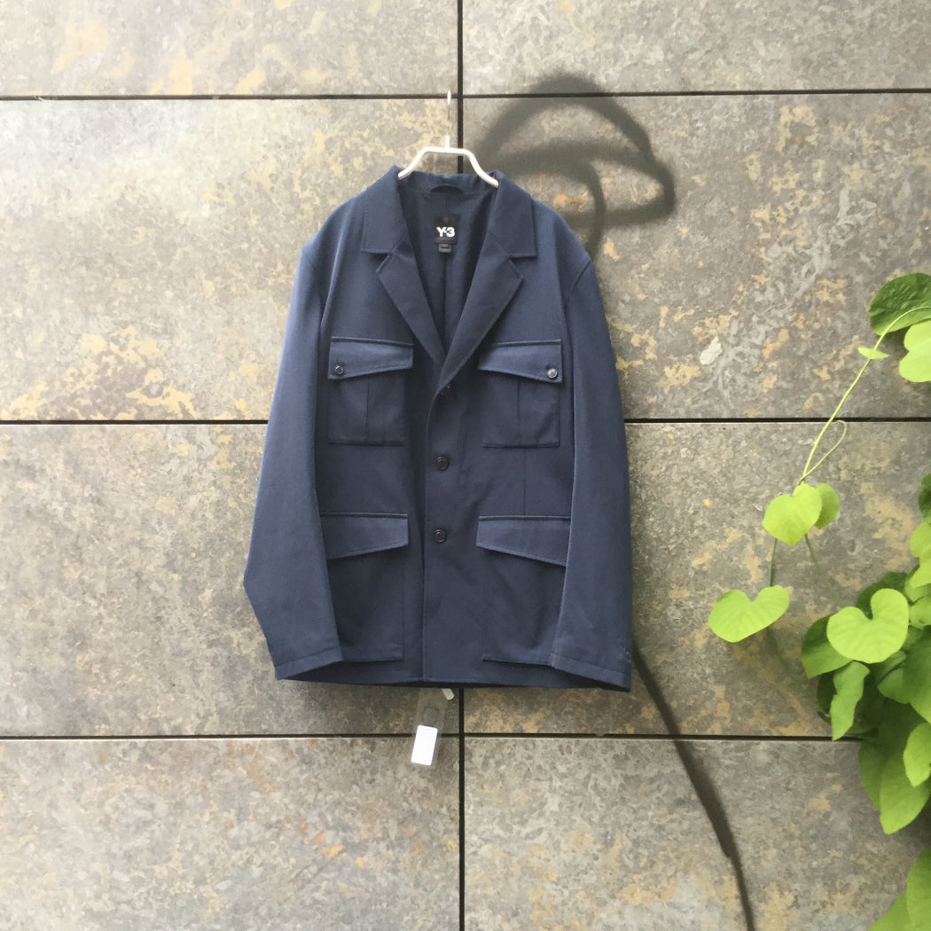Heather Blue Polyester Mix Y-3 Military/cargo Jacket Multi Pocket Size M/L