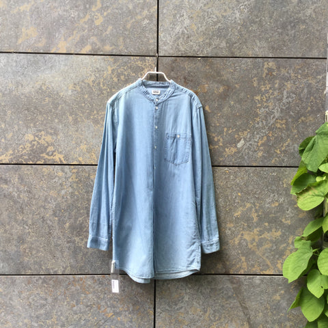 Pale Denim Blue Denim Weekday Shirt Mandarin Collar Size M/L