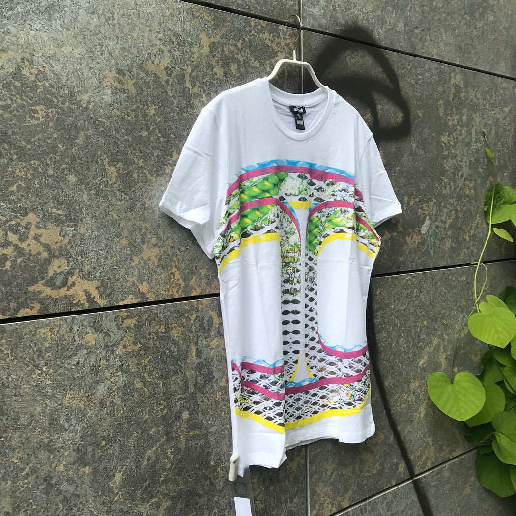 White-Colorful Cotton Just Cavalli T-shirt  Size M/L