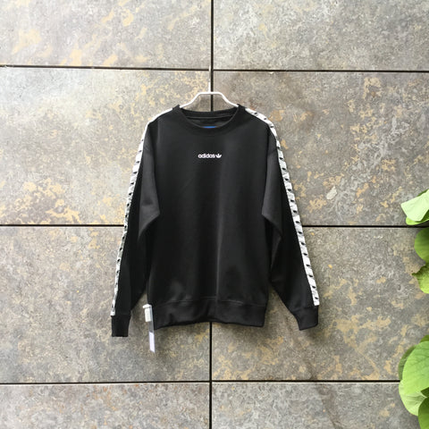 Black-White Polyester Mix Adidas Sweatshirt Loose-fit Size S/M