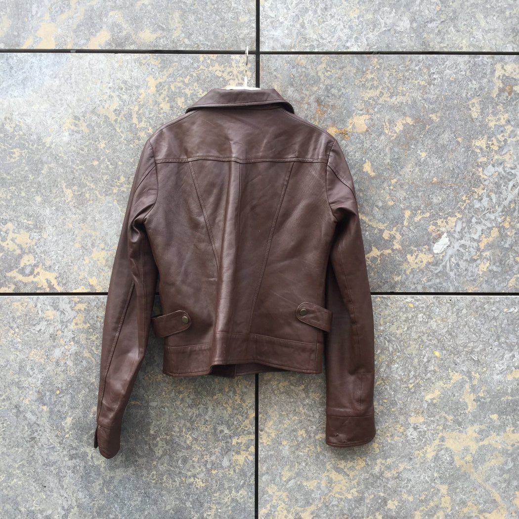 Chocolate Leather Vintage Trucker Jacket  Size Xs/S