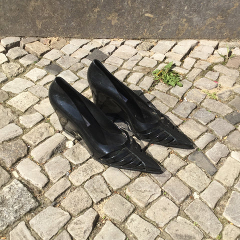 Black Plastic Contemporary Wedge Heels  Size 38