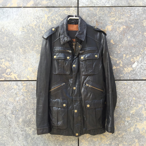 Black Leather / Metal Mix Drykorn Leather Jacket  Size M