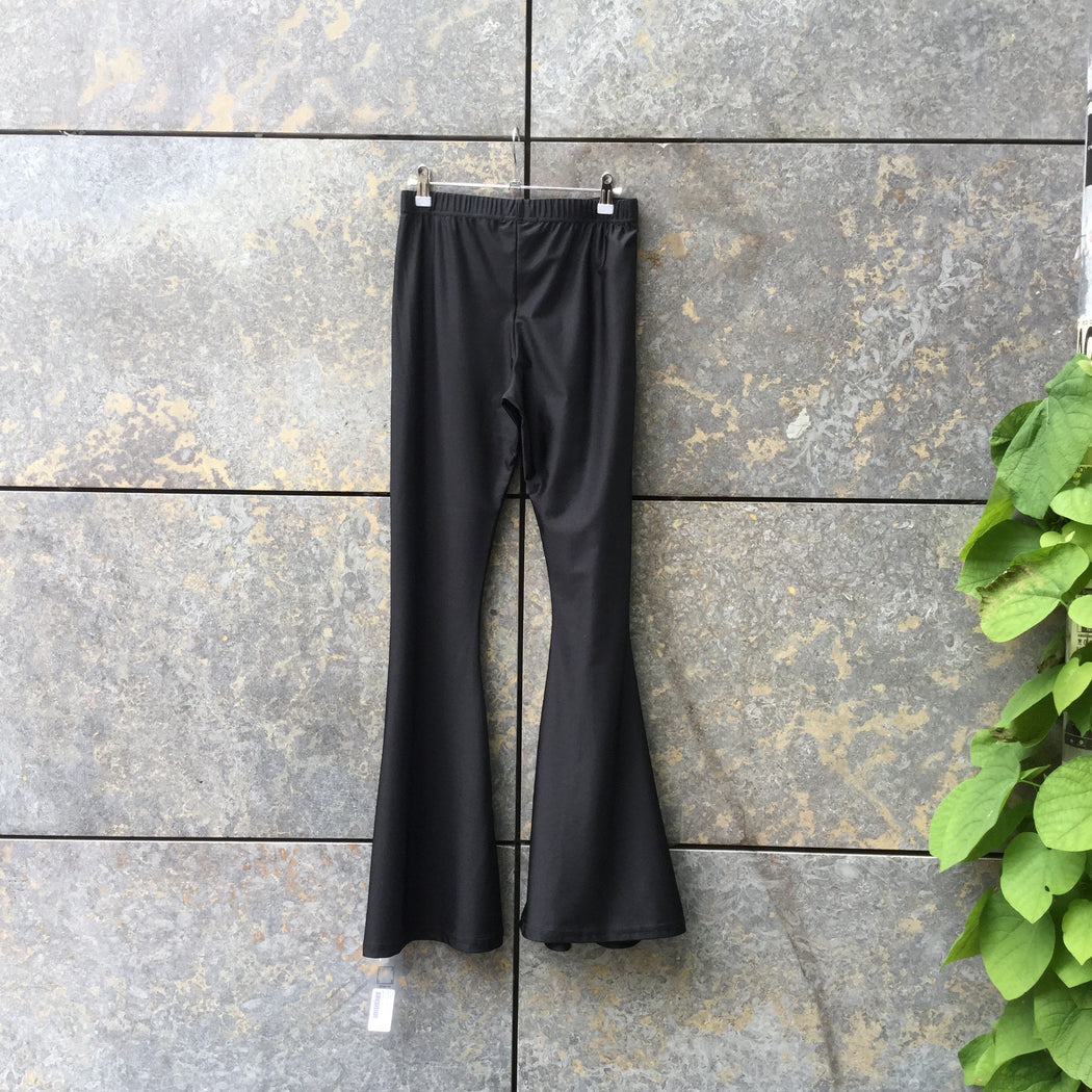 Black Nylon / Cupro Contemporary Main Flare Pants Stretch Waist Size 28/29