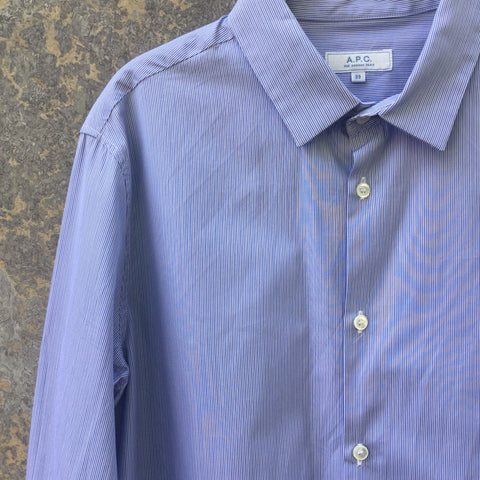 White-Blue Grey Cotton A.p.c. ( Mens ) Shirt  Size M/L