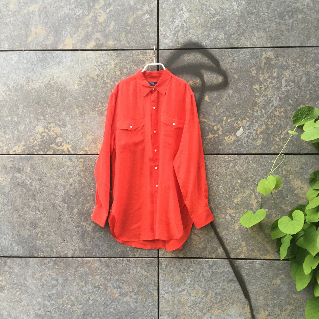 Red Silk Polo Ralph Lauren Silk Shirt Button Through Size L/XL