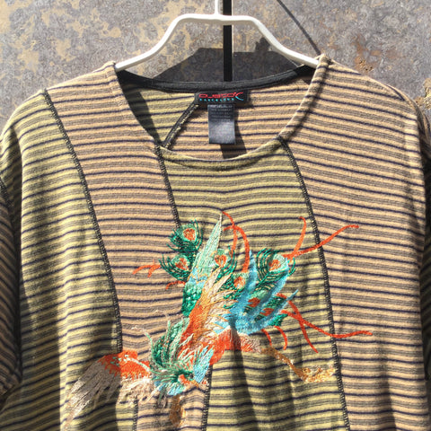 Colorful Cotton Directional Vintage T-Shirt Stitching Detail Size Xl