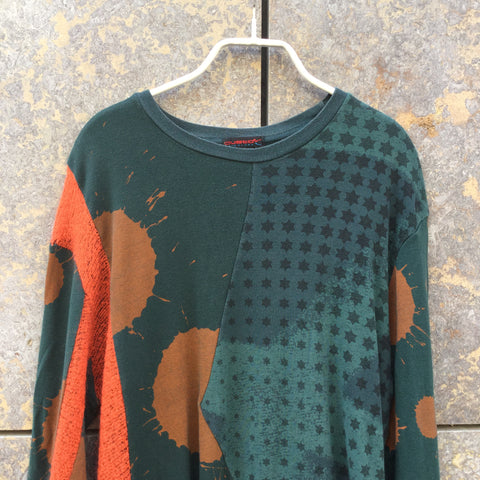 Green-Brown Cotton Mix Directional Vintage T-Shirt LS  Size M