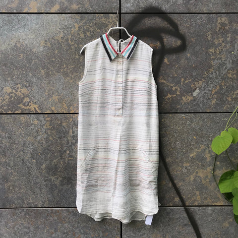 White-Colorful Silk Contemporary Designer Dress Loose-fit Collar Detail Size XS/S