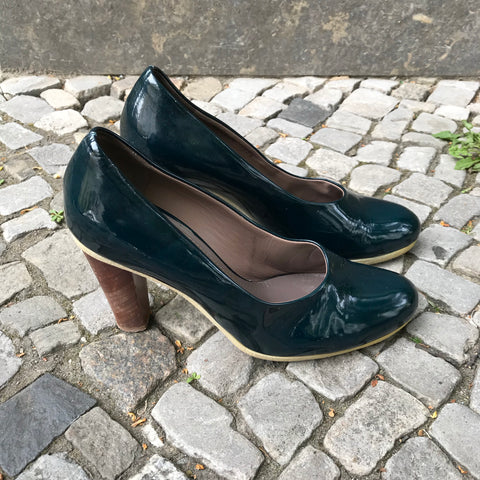 Brown-Dark Green Leather/synthetic Mix Jil Sander Pumps Heels  Size 39