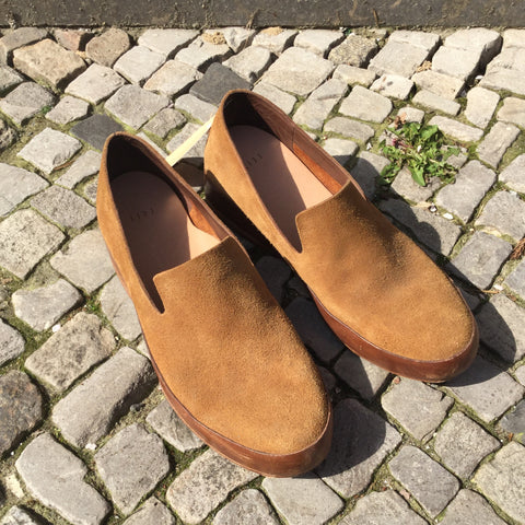Tan Suede Contemporary Designer Shoes  Size 10