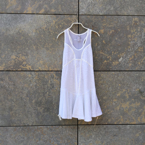 White Polyester Mix Adidas by Stella McCartney Tank Dress Sheer Size Xs/S