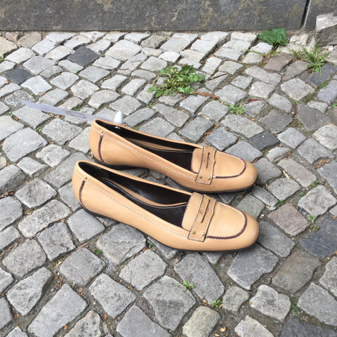 Beige Leather/synthetic Mix Bally Loafers  Size 37