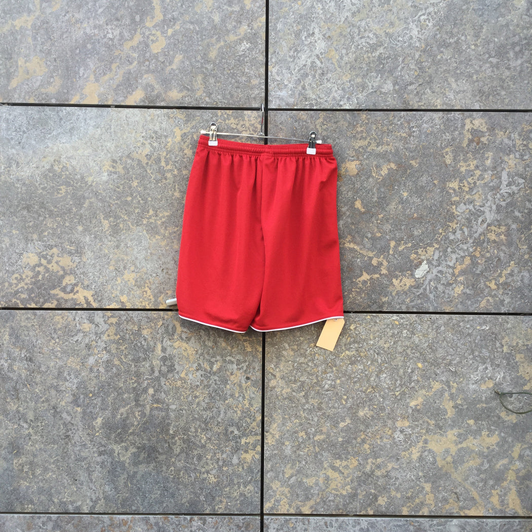 Red-White Polyester Modern Adidas Jogging Shorts Stretch Waist Size 28