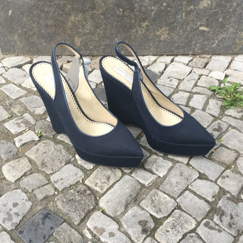 Midnight Blue Synthetic Stella Mccartney Wedge Heels Slingback Size 40
