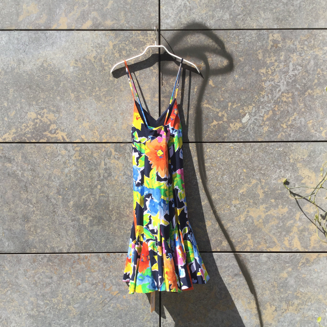 Colorful Polyester Modern Polo Ralph Lauren Slip Dress Frill Size S/M