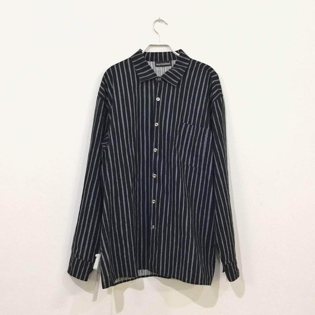 Independent Shirt Black-Blue Cotton Independent Shirt  Boxy Size M
