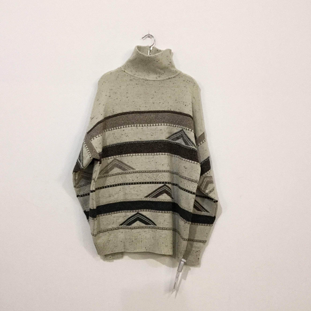 Vintage Sweater Beige Brown Wool / Acrylic Mix Vintage Sweater  Size L