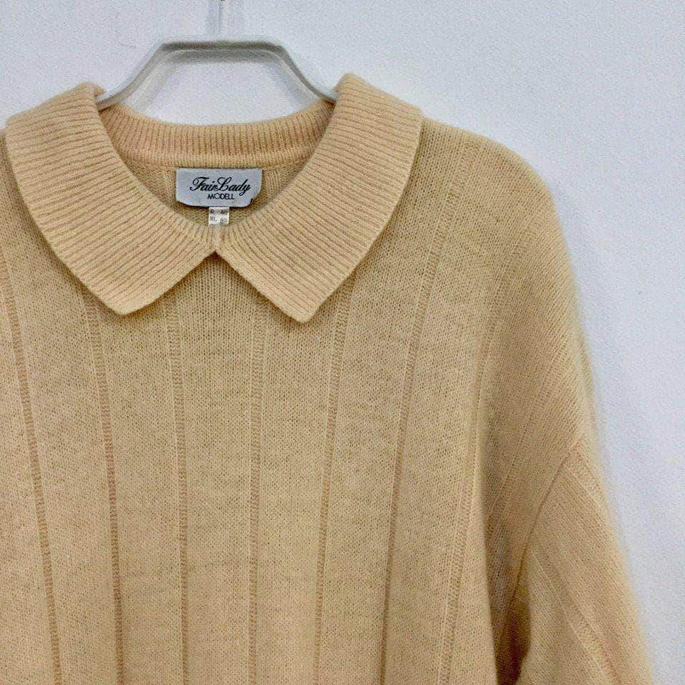 b42a3012a42 ... Vintage Sweater Dress Nude White Wool Mix Vintage Sweater Dress Size L  Xl ...