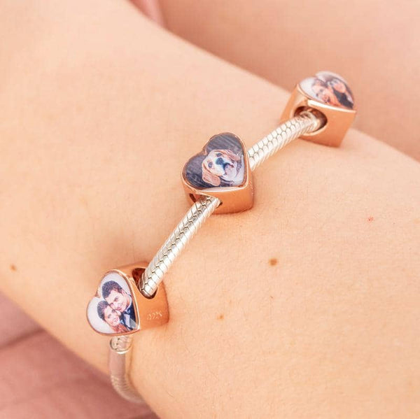 Rose Photo Message Charm | Rose Gold Photo Charm - Annalise Jewellery