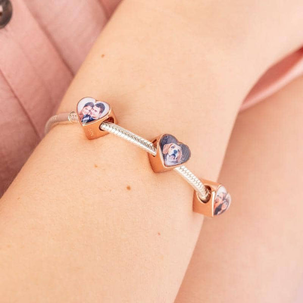 Rose Message Crystal Charm - Rose Gold Photo Charm By Annalise Jewellery