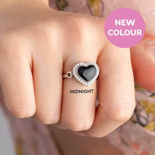 Heart Crystal Ashes Ring | Ashes Rings - Annalise Jewellery