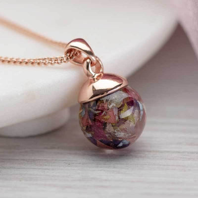 Dried Flowers Rose Gold Pendant