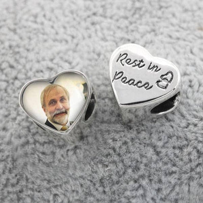 Rest in Peace Heart Photo Charm