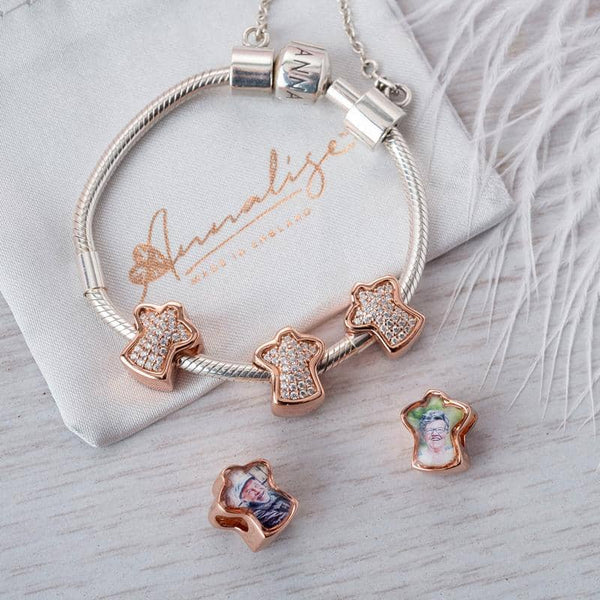 Rose Angel Photo Charm | Rose Gold Photo Charm - Annalise Jewellery
