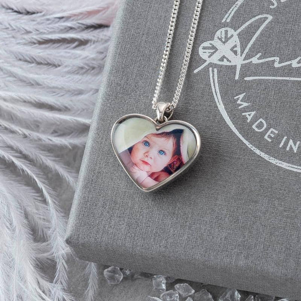 Crystal Blue Photo Pendant - Photo Locket By Annalise Jewellery