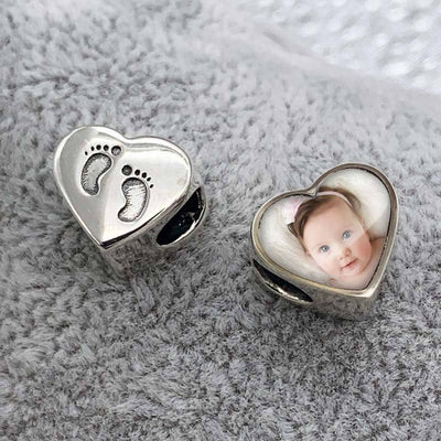Foot Prints Photo Charm