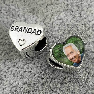 Grandad Heart Photo Charm